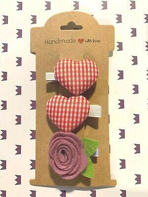 Hair Clips For Flower Girl (Hair Clips Set For A Flower Girl. Celebration. Party. Birthday.Heart.)