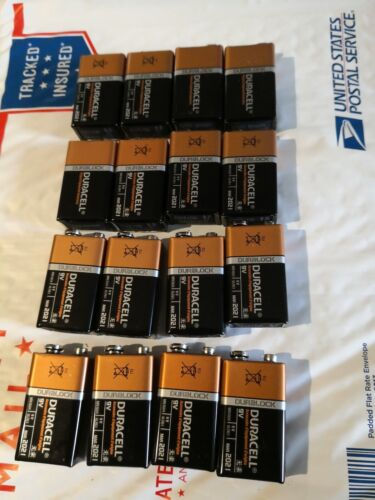 Lot of 16 NEW 9V, 9 VOLT Alkaline Batteries EXP in 2021