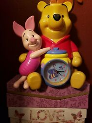 "Winnie the Pooh & Piglet Musical Alarm Clock Bank Large 11.5"" Tall Disney Pooh"