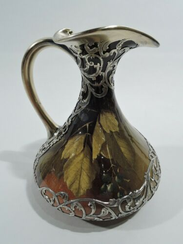 Rookwood Pottery Pitcher 725 Art Nouveau Craftsman American Silver Overlay