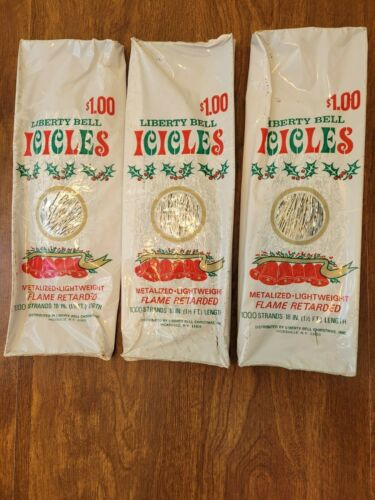 """Lot of 3 Vtg Christmas Tree Icicles Tinsel 1000 Strands Each 18"""" long New"""