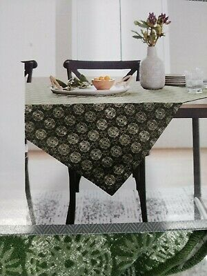 """Distressed Medallion Table Throw Green 50"""" x 50"""" Square Threshold"""