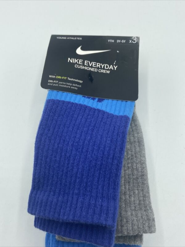 Nike Kids Everyday Cushioned Crew 3 Pack Socks SX6839-943 New (Sizes 3Y-5Y)