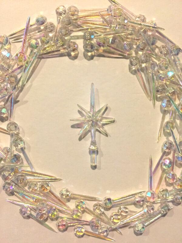 65 Clear Iridescent Small Pin Lights Bulbs Aurora Star Ceramic Christmas Tree