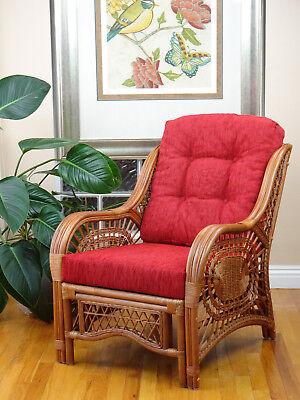 Malibu Rattan Wicker Living Chair with Thick Cushion, Handmade Design - Living Room Wicker Bench