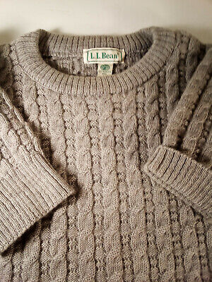 Vtg LL Bean Men's Wool Cable Knit Pullover Sweater Made in Ireland Medium Gray