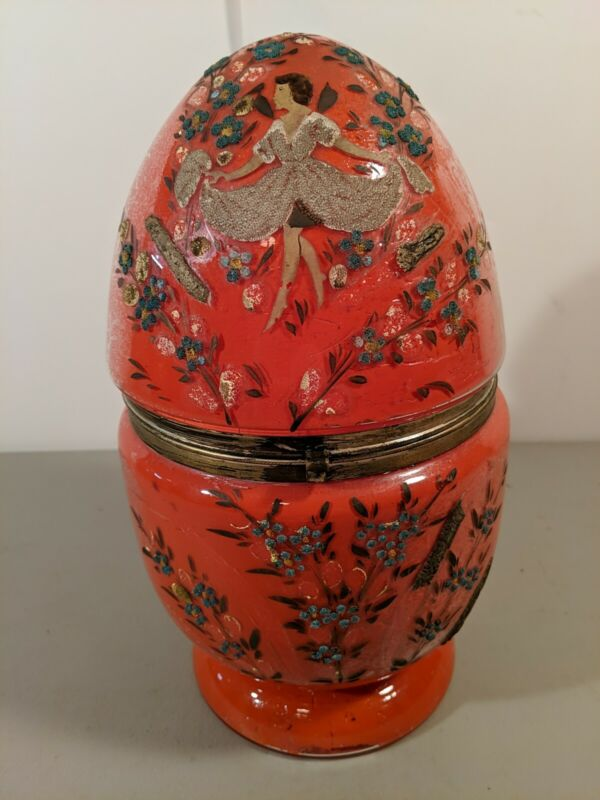 Vintage Antique Czech Reversed Painted Glass Egg Cordial Decanter Coralene