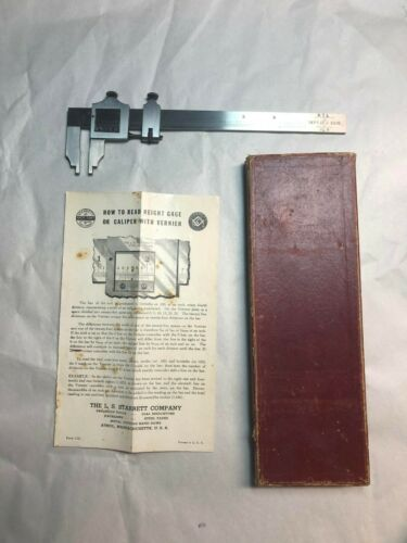 Vintage L.S. Starrett No.122 6 Inch Vernier Caliper. Original box / Instructions