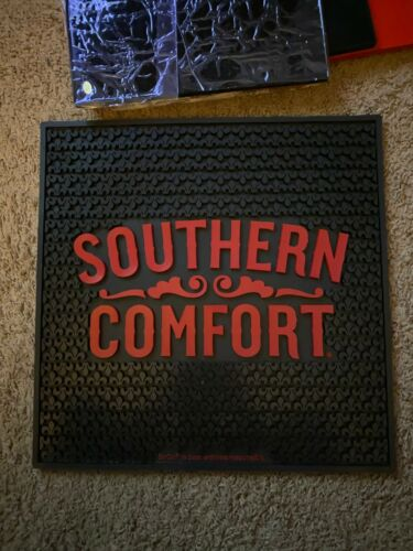 """Brand New Black with Red lettering Southern Comfort liquor Bar Mat 17"""" x 17"""""""