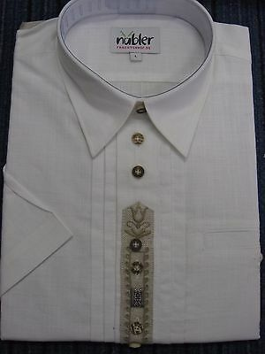 *** NÜBLER - Herren Trachtenhemd, Kurzarm, Weiß, Gr. L NEU