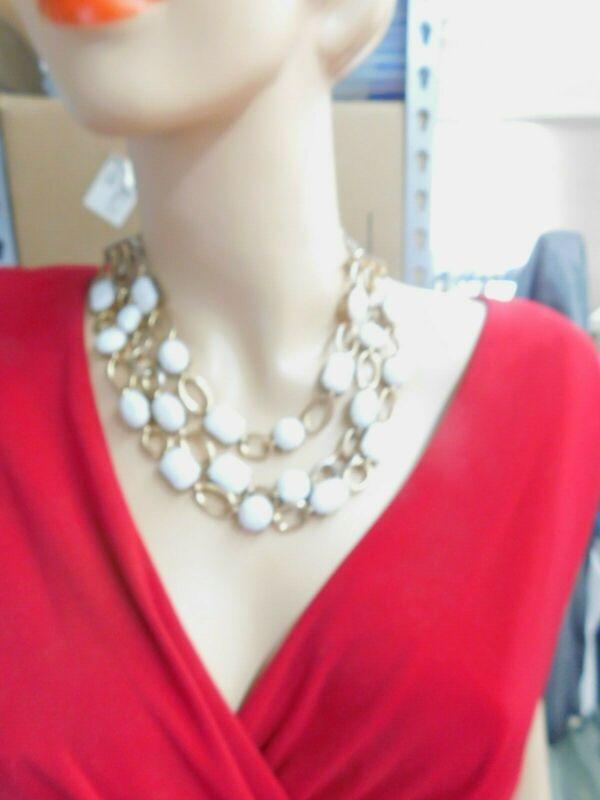White Oval Rectangle Plastic Rhinestone Gold Tone Triple Strand Necklace Vintage