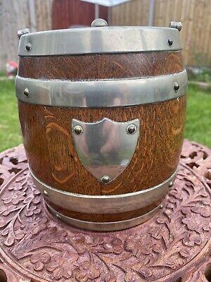 Antique Vintage English Oak Biscuit Barrel