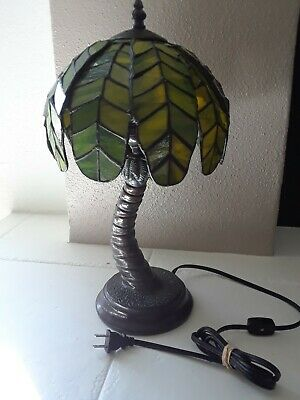 VINTAGE TIFFANY STYLE STAINED GLASS PALM TREE LAMP Palm Tree Lamp
