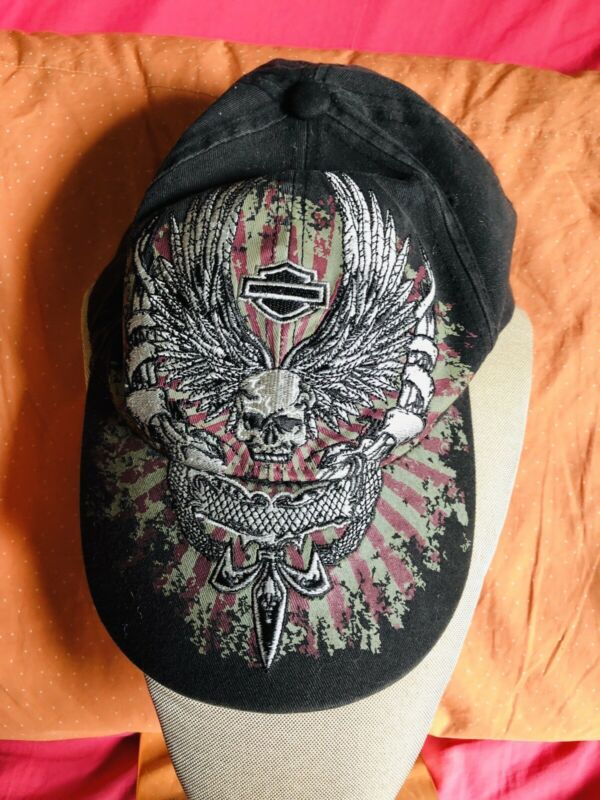 BLACK DENIM EMBROIDERED HARLEY DAVIDSON BASEBALL CAP ADJUSTABLE