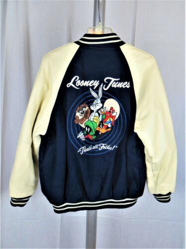 Vintage Warner Brothers Looney Tunes Embroidered Baseball Jacket Size Medium