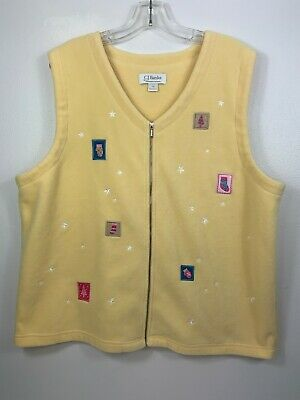 CJ Banks Womens Size 1X Sleeveless Fleece Vest Full Zip Yellow Mittens Snowflake