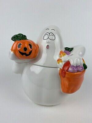Ceramic Ghost Candy Cookie Jar Bag Halloween Pumpkin Jack-O-Lantern Candy Corn