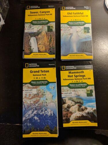 4 National Geographic Hiking Maps: Yellowstone and Grand Teton NP