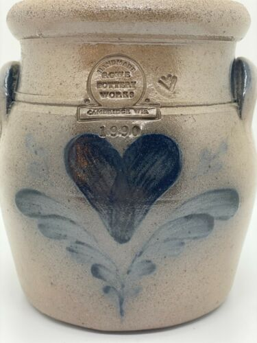 "Vintage Rowe Pottery Crock with Lid Heart Motif 1990  6.5"" tall"