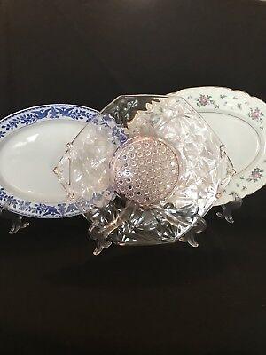 VTG Mismatched Shower Bridal Tea Platters, Shabby, Cottage, Roses Estate