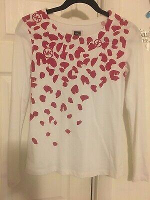 MICHAEL KORS MK SaKs Fifth Womens T Shirt Top Size White Long Sleeve Small