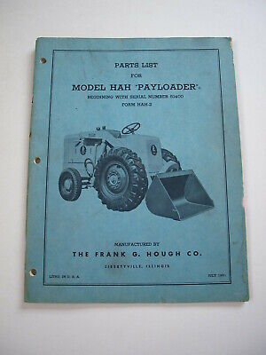 Ih Hough Hah Front-end Wheel Pay Loader Tractor Parts Catalog Manual List 51400-