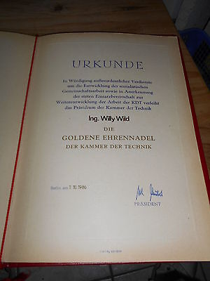 Urkunde für Goldene Ehrennadel der Kammer der Technik DDR Berlin 1986