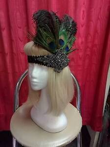 BEADED SEQUINED PEACOCK FEATHER HEAD PIECES 1920S GATSBY ADELAIDE Glandore Marion Area Preview
