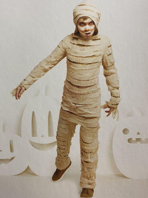Mummy Halloween Costume Kids Jumpsuit Size Medium 8-10 Boy Girl Beige NEW
