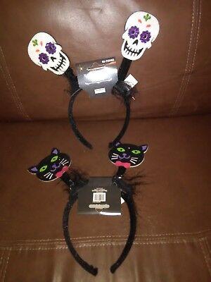 Skull Headband Halloween (Black Cats and Skulls Halloween Headbands Set of)