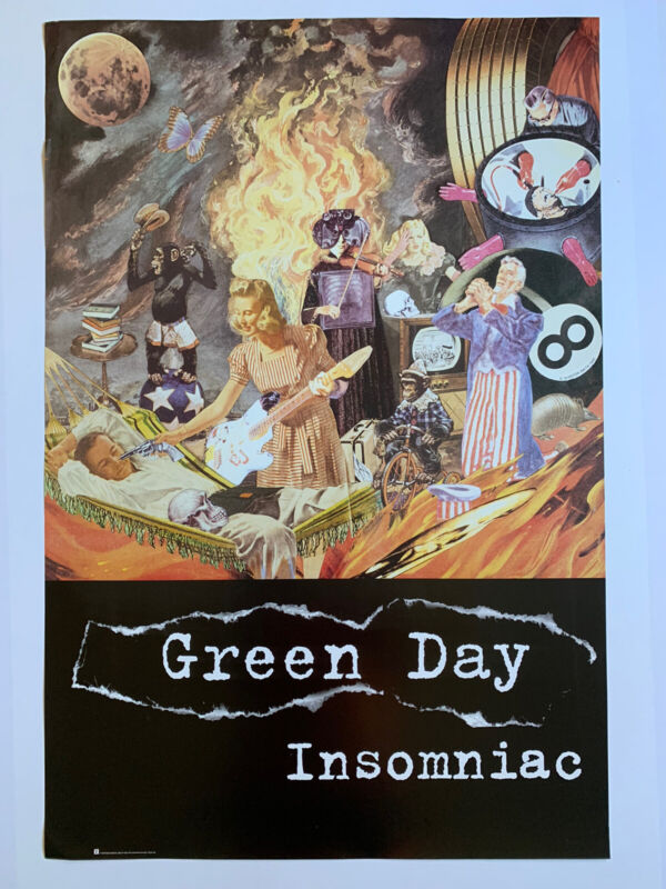 "Original 1995 Green Day Insomniac Promotional Punk Poster 24"" x 36"" Reprise Dorm"