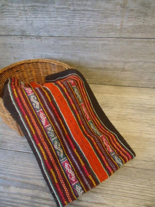 Antique Awayo Manta Bolivian Aymara Indian Kilim Hand Woven Andean San Pedro