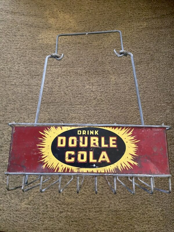 Vintage Double Cola 6 Pack Bottle Carrier Metal Wire Caddy Red Black Yellow