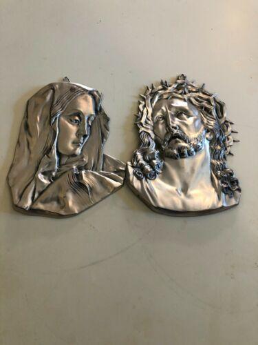 Vintage Cast Metal JESUS & MARY Wall Hangings
