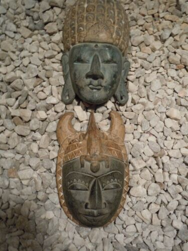 Vintage South East Asian Balinese Hand Carved and Hand Painted Wooden Masks