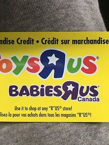460.00 $ gift card to toys r us or babies r us