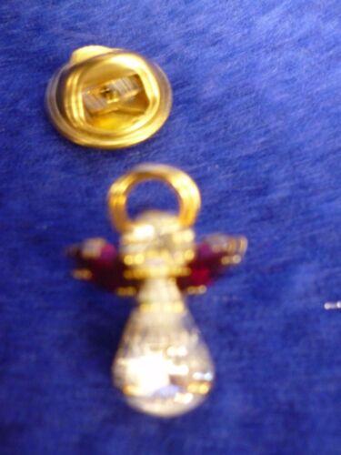 JANUARY DEEP RED CRYSTAL BIRTHSTONE GUARDIAN ANGEL PIN LAPEL TIE TACK BROOCH