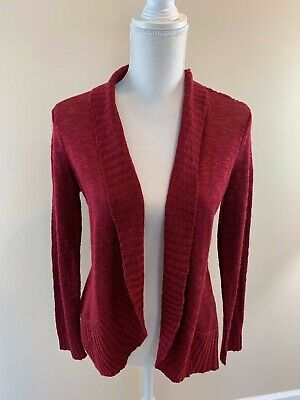 Paper Cut Clothing Loose Knit Merlot Open Front Cardigan Sweater SZ