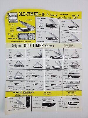 1978 Schrade Old-Timer Pocket Knife Catalog Order Form Paper Price List paper