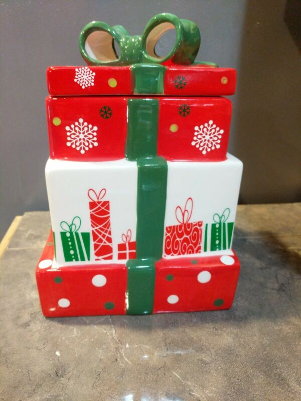 Triple Layer Christmas Package Cookie Jar Kitchen Canister 🔥