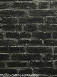 Black grey heavyweight sculptured vinyl 3d brick for Black 3d brick wallpaper