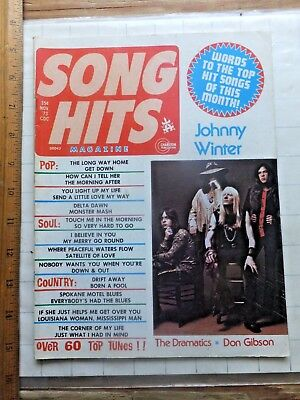 (November 1973 Song Hits Magazine. Johnny Winter Cover. Words to Top Hits. 50 pgs)