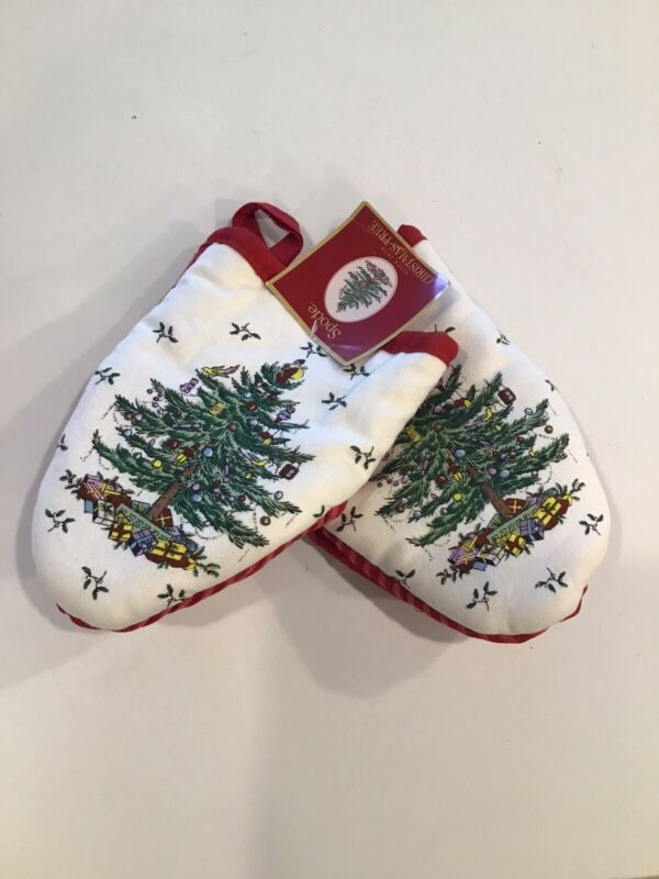 Rare Vintage Spode Christmas Tree Red  Oven Mitts   Set