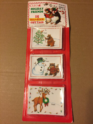 VINTAGE CHRISTMAS CLEO HOLIDAY FRIENDS 15 SELF - STICK GIFT TAGS NOS NIP
