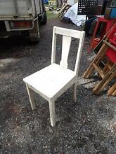 Shabby chic white wooden dining chair timber seat Joyner Pine Rivers Area Preview