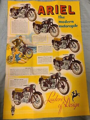 Vintage 1958 Ariel Motorcycle Brochure Fold Out Poster Advertising Square Four