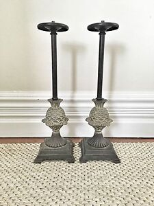 Iron Candlesticks with Pineapple Base Marrickville Marrickville Area Preview