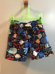 Baby boy 12-18 months swim trunks and rashguard and sun hat