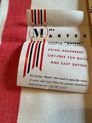 "NWT 2 Vtg  1940's Martex Kitchen Towels Blotters Red Striped 20"" x 32"" ABSORBENT"