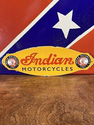 VINTAGE STYLE DOOR PUSH ''INDIAN MOTORCYCLES 12X4 Inch INDIAN Porcelain Door